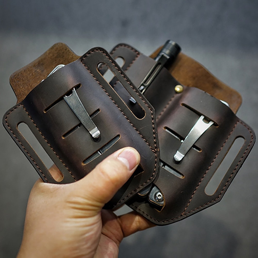 hunting axe hatchet head cover ax blade sheath belt loop holster thick genuine leather coffee color New Multifunctional EDC  Leather Sheath Waist Holster Belt Loop Organizer Pouch Storage Bag for Flashlight Hand tools Pen Pliers