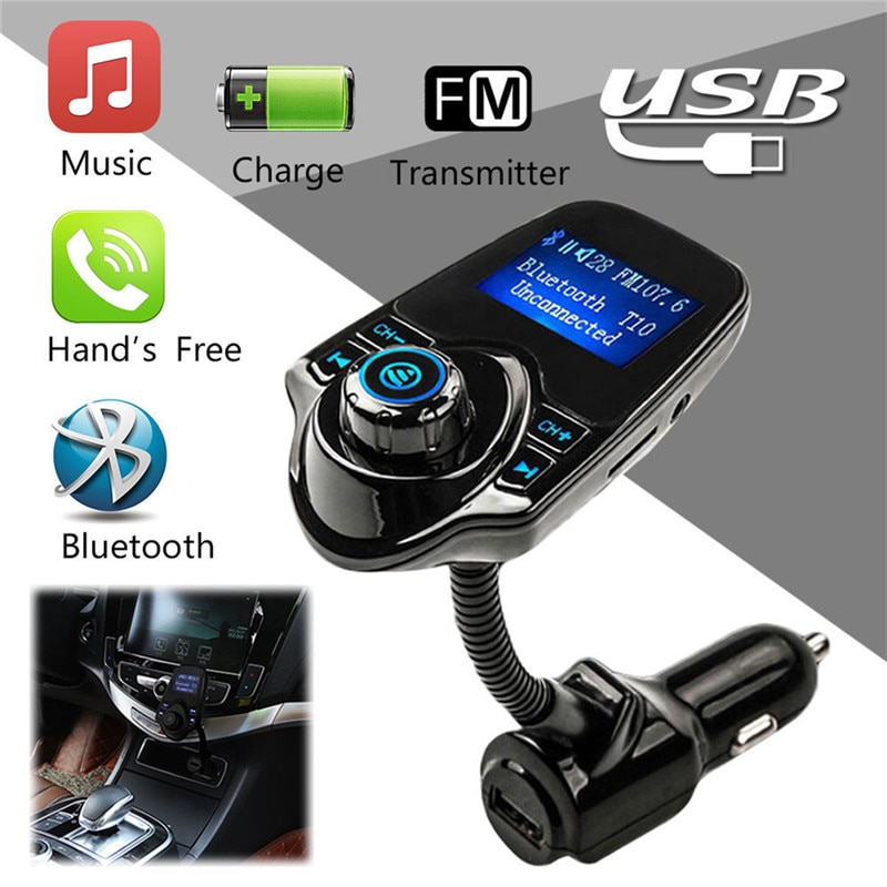 Фото - Wireless FM Modulator Car Kit Car MP3 Audio Player Bluetooth FM Transmitter HandsFree USB Car-Charger Transmittter FM#249809 fm трансмиттер baseus t typed bluetooth mp3 charger with car holder dark coffee ccall tm12
