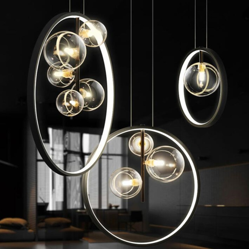 الحديثة فقاعة الثريا Led خواتم دائرة السقف مصباح معلق الأسود Loft المعيشة غرفة الطعام تركيبة إضاءة المطبخ