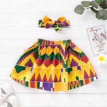 Toddler Kids Baby Girls African Skirt Headband Dashiki Print Clothing Set baby girl skirt spodnica jupe fille meisjes rok skirt