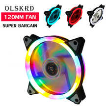 Olskrd Cooler PC Case Fan 120mm Rgb Fan Mute Colorful Cooler LED Cooling 3pin 4pin Master Fan Quietly Easy Install Computer Fan