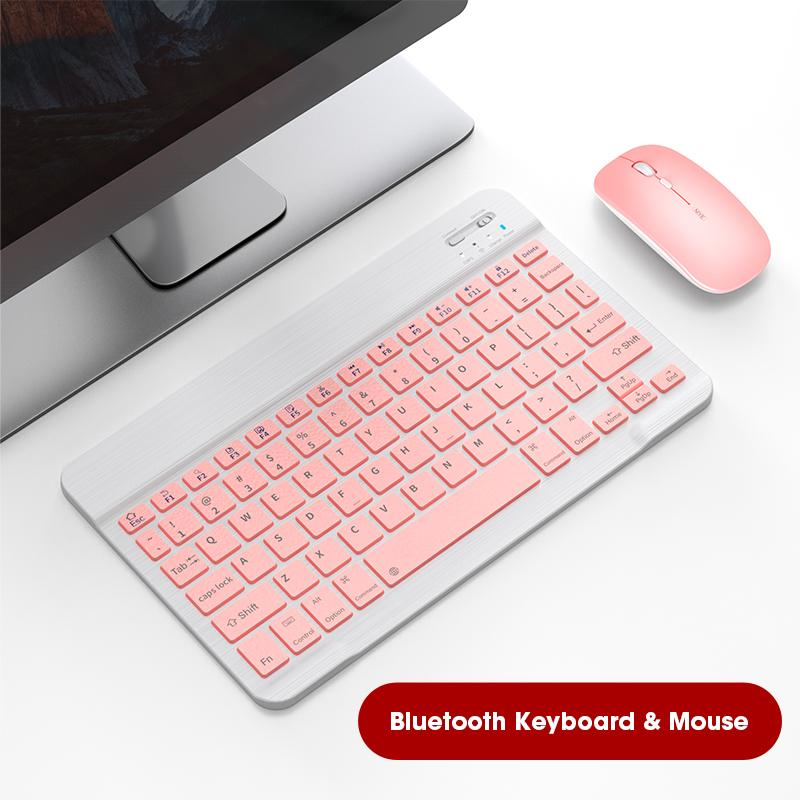 Bluetooth para Ipad Teclado sem Fio e Mouse Rato do Escritório Teclado Tablet Mini Rosa Mouse Keycap Computador 60%