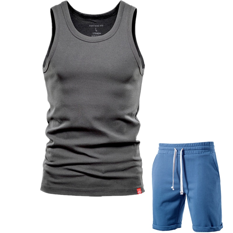 AIOPESON New Summer Cotton Mens Sets Casual Tank Tops+shorts Two Pieces High Quality Solid Color Classic Tracksuit Men