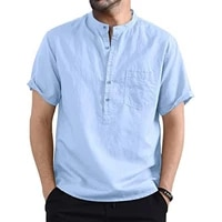 wear resistant men shirt comfortable to wear stand collar short sleeve exquisite details cloth solid color shirt tops for summer
