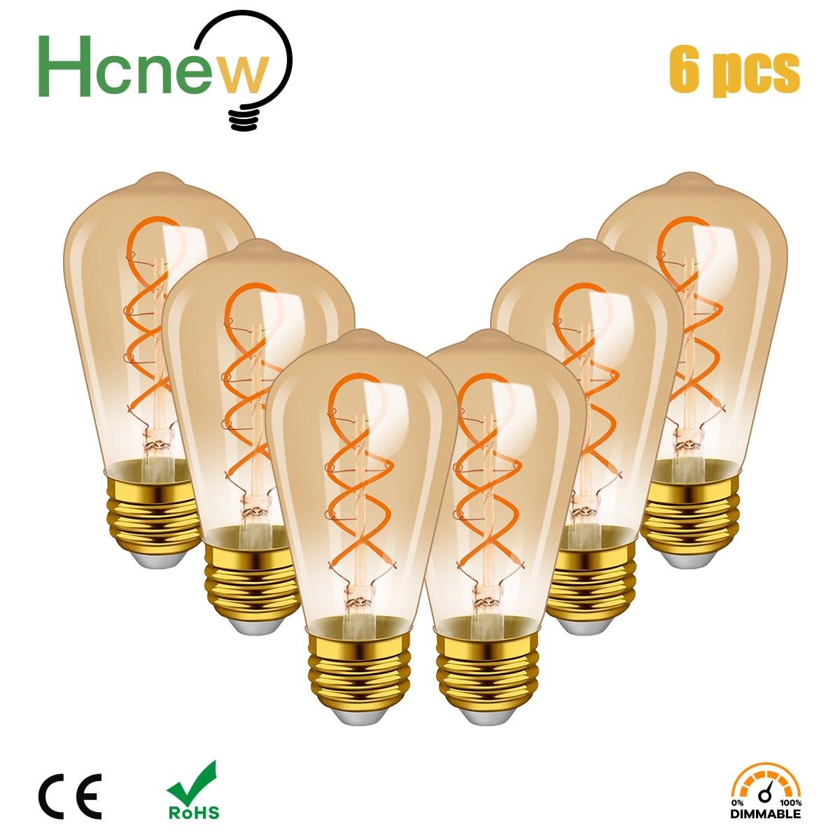 Светодиодная винтажная лампа Эдисона в стиле ретро, 6 шт./лот, E27, 220 В, 4 Вт, ST64