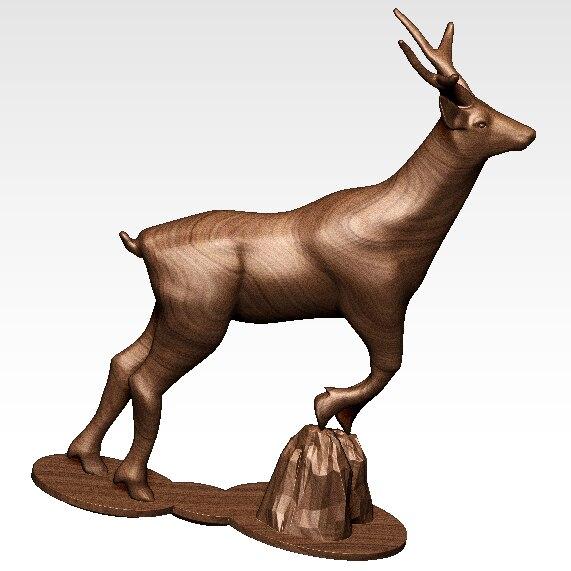 4 pces 3d esculpida animal cervos escultura modelo 3d para cnc máquina em formato de arquivo stl