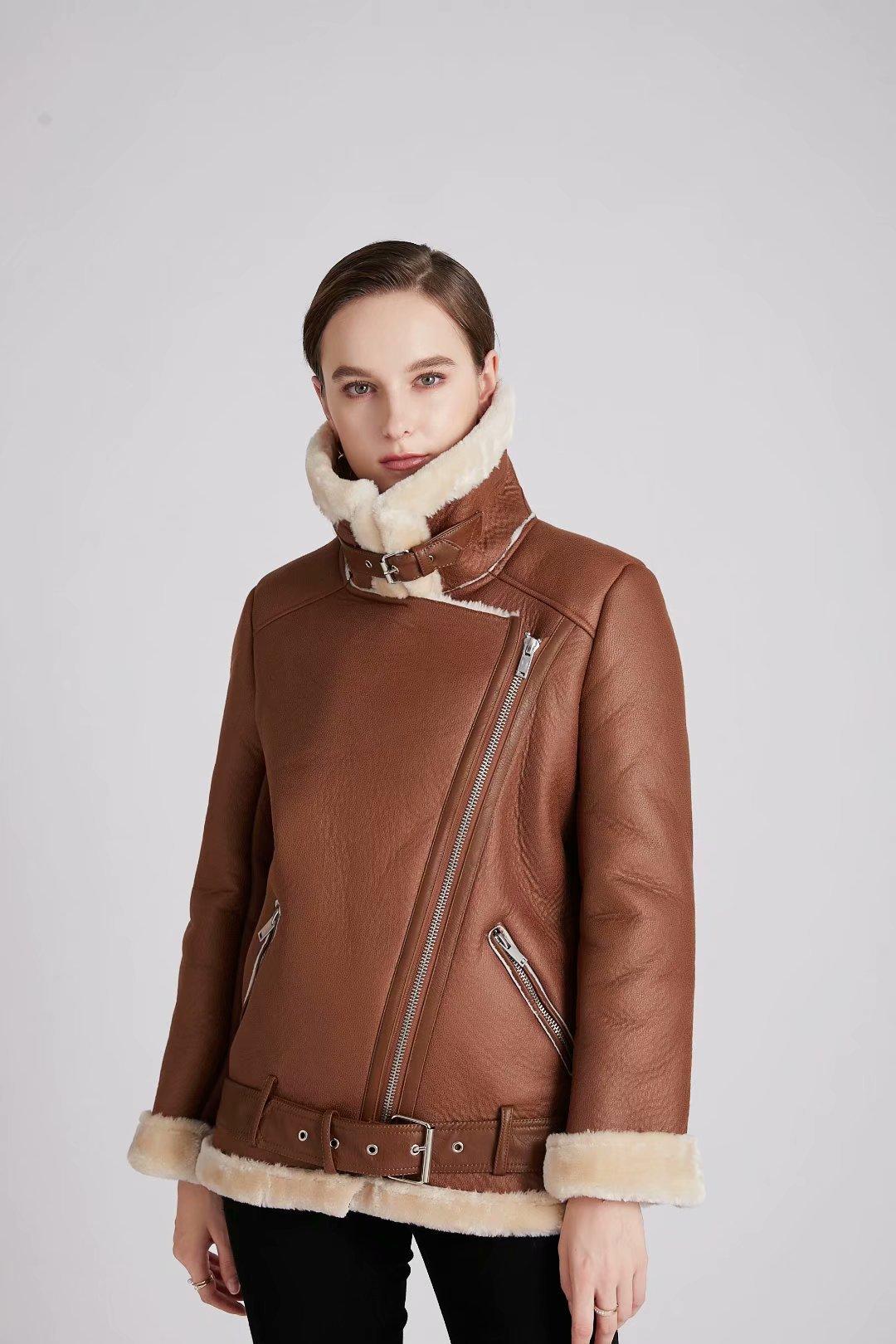 дубленкаженская 2020 Autumn And Winter Thick Faux Fur Mid-Length Motorcycle Jacket Women Jacket женскаякуртка enlarge