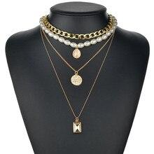 فاجزيب موضة جديدة مجوهرات اللؤلؤ متعدد الطبقات الشرير خمر عملات معدنية كريستال قلادة المختنق قلادة للمرأة