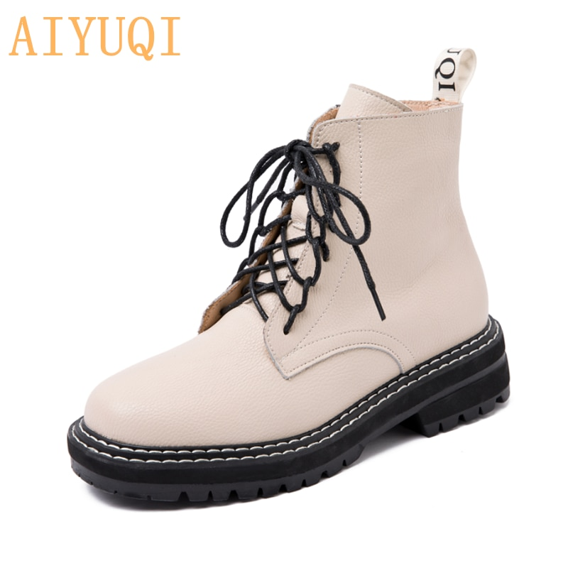 AIYUQI Women Shoes Boots Ankle 2021 Autumn British Wind Genuine Leather Thick With Fur Ladies Short