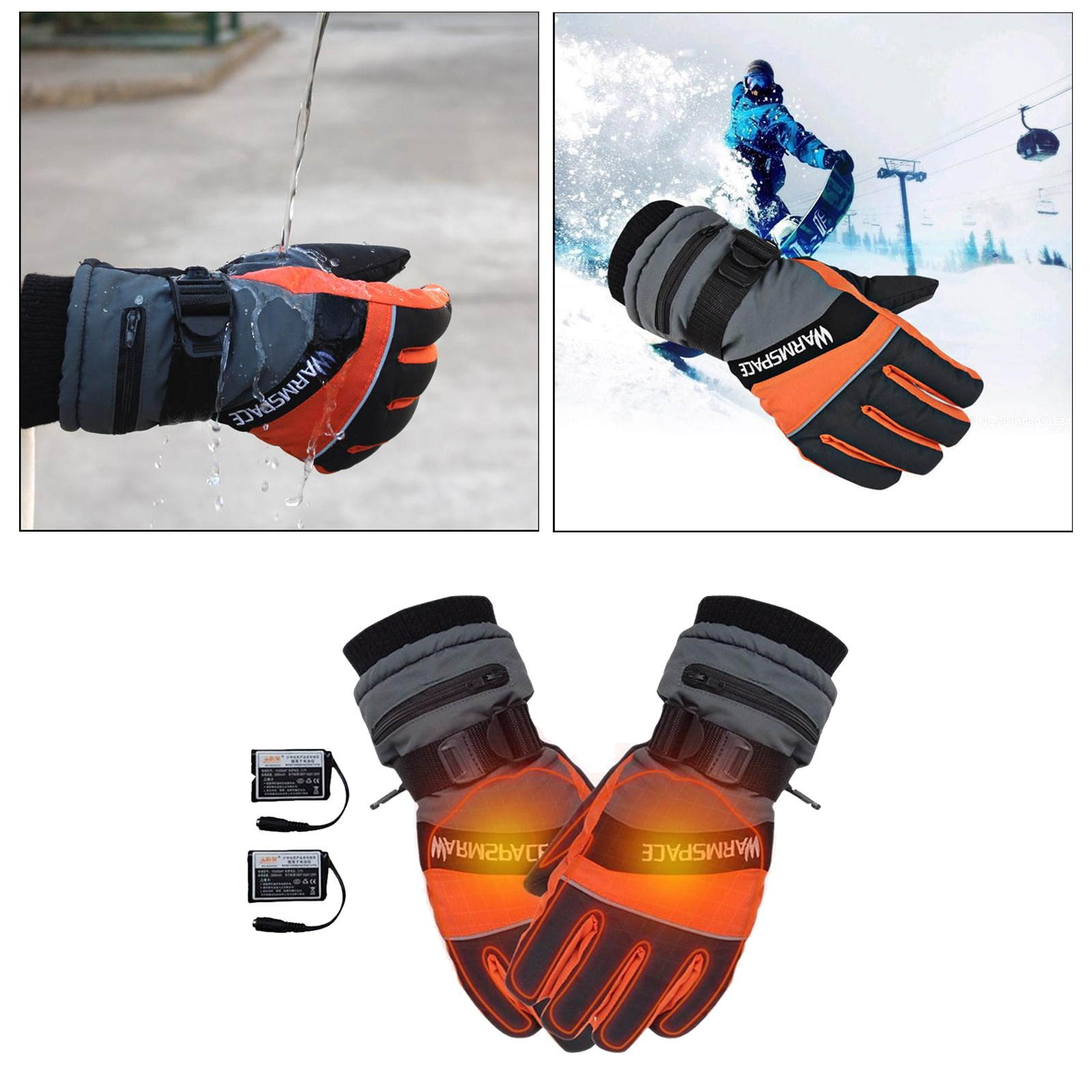 Heated Gloves, Battery Electric Motorcycle Gloves Mittens, Heating Skiing Gloves Snowboarding Breathable Gloves for Men Women enlarge