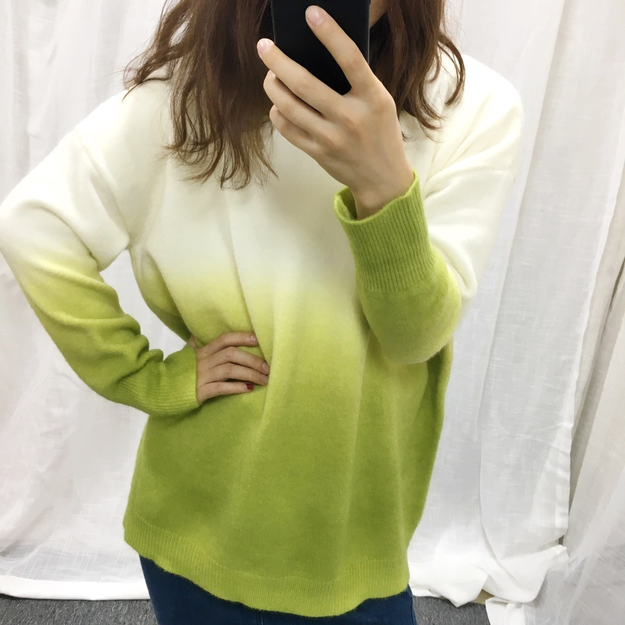 Loose Low Round Collar Gradient Set of Female Knit Print Green Jumper Woman Sweaters  Pullover