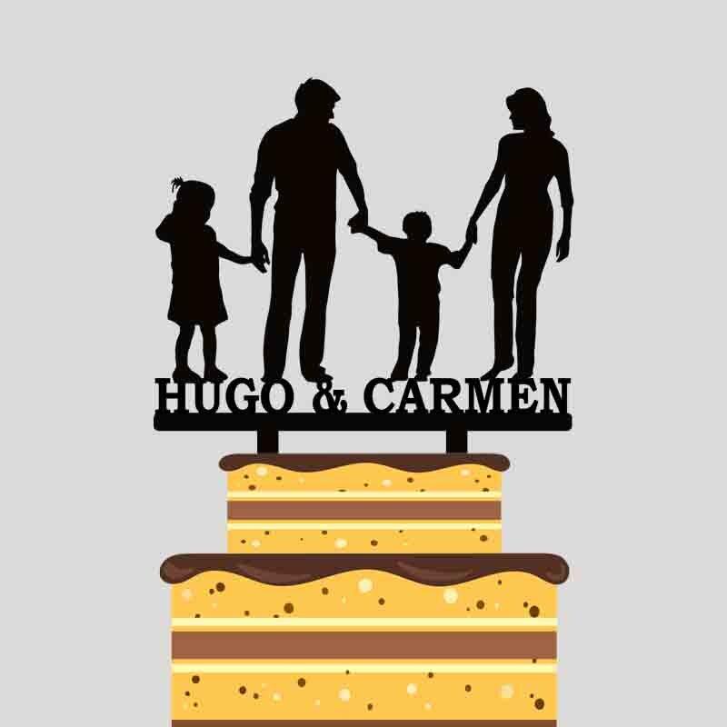 Personalizado familia de cuatro torta Toppers personalizado parejas nombre padres y niños silueta torta YC169
