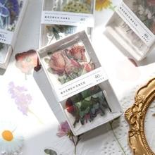 Yoofun 40pcs/box Vintage Flower Stickers for Ablum Diary Scrapbooking Journal Decoration Label Sticker Kawaii Stationery