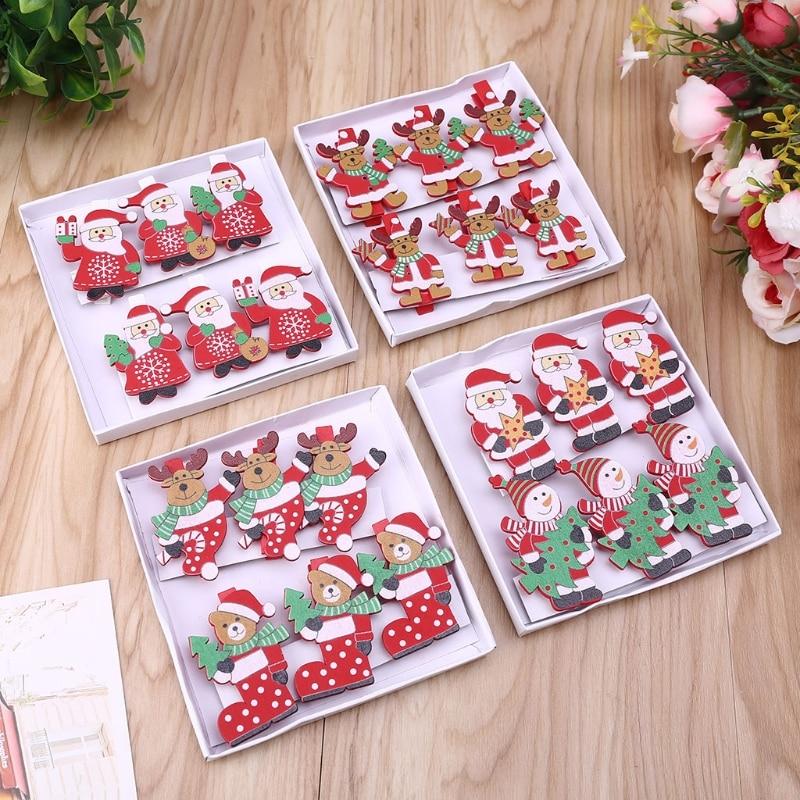 6 unids/caja decoración de Navidad adorno para el árbol de Navidad decoración muñeco de nieve Clip de madera