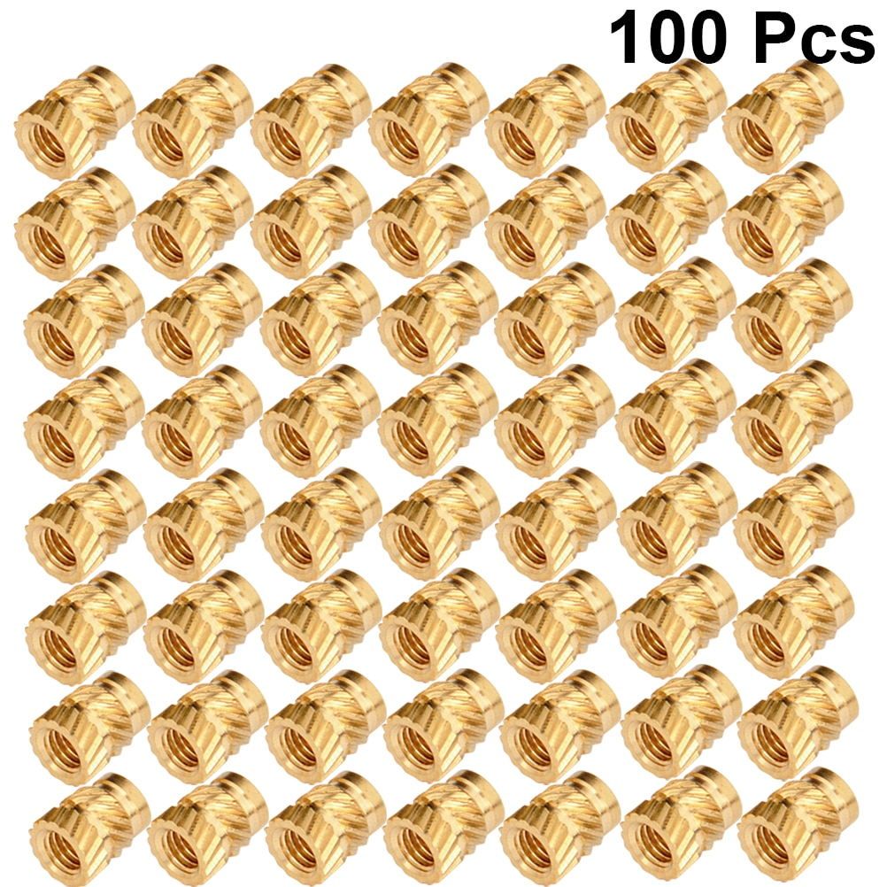 100pcs M3 Thread Knurled Brass Threaded Heat Set Heat Resistant Insert Embedment Nut for 3D Printer