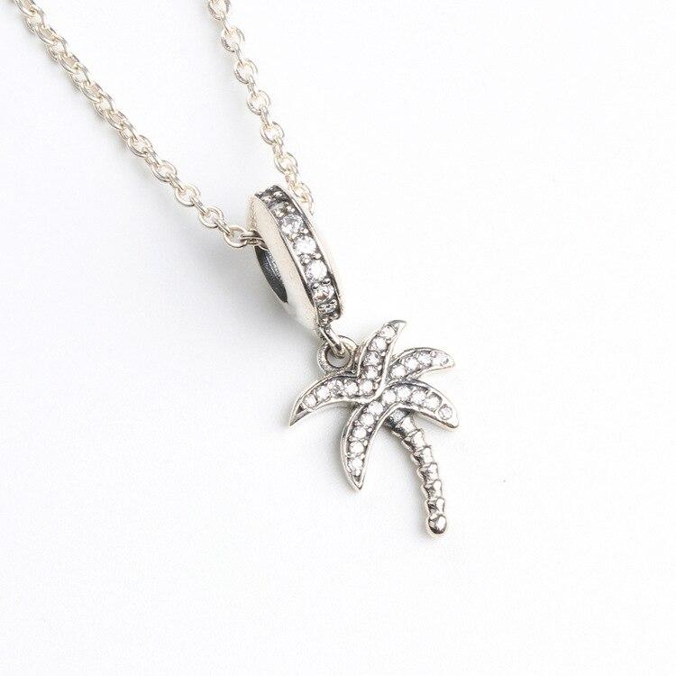 Authentische 925 Sterling Silber Charme Coconut Baum Kreative Coconut Baum Anhänger Fit Pandora Frauen Armband & Halskette Diy Schmuck