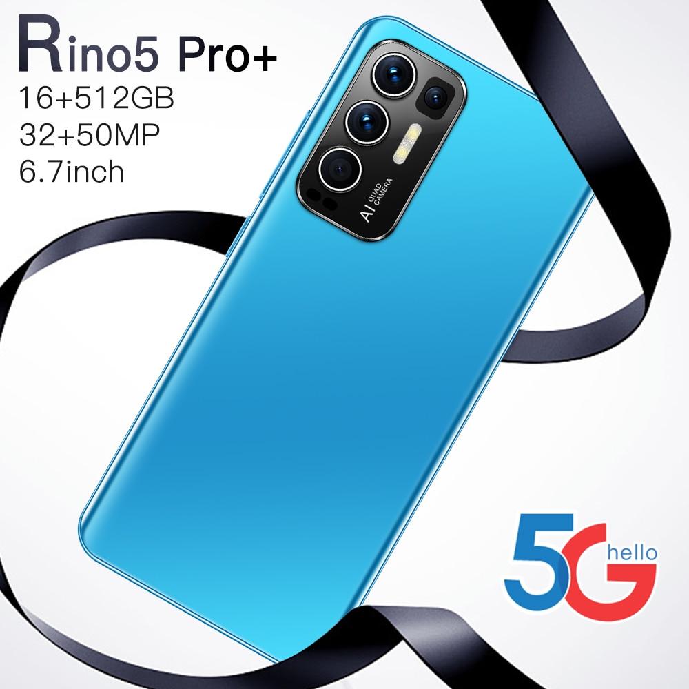 Rino5 Pro+ Smartphones New 2021 6.7 Inch 16+512GB Face Fingerprint Unlock 32+50MP 10 Core 6800mAh Andriod Cellphone MTK6889