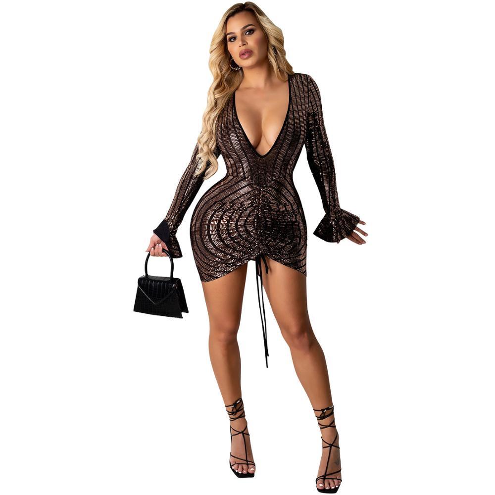 Sexy Sequins Women Dress Bodycon Dresses Deep V-neck Drawstring Party Night Clubwear Clothes For Vestido