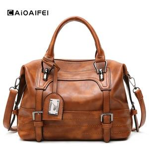 CAIOAIFEI retro soft Oil wax Leather women boston bag tassel women luxury handbags large capacity tote bags fashion shoulder bag