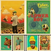 Affiche de peinture artistique retro de style Hip-Hop  couverture de musique de bande de garcon de fleur de createur  autocollants muraux de decoration de maison chambre Bar