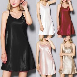 Womens Silk Satin Hem Sling Sexy Lace Lingerie V-Neck  Striped Nightwear Sleeveless Underwear Plus Size Ladies Home Clothing 501