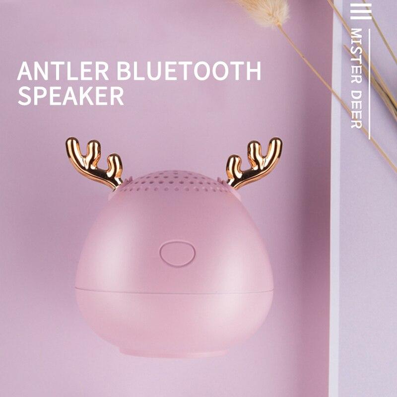New product cute antler speaker bluetooth speaker christmas gift mini wireless speaker TF card USB subwoofer portable MP3 music enlarge