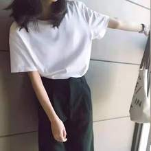 Oversized T-shirt Women Black O-Neck Short Simple Sleeve Tee White T-Shirt Casual Solid Lady Tshirt