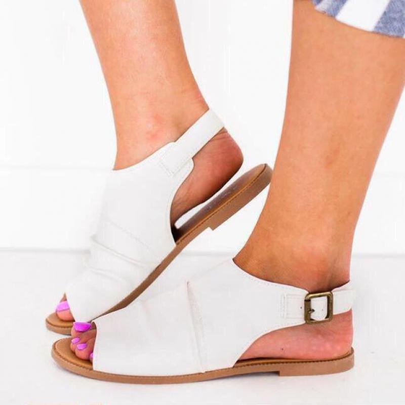 Nuevos zapatos de Mujer, Sandalias de verano 2020, Sandalias de Mujer cómodas de PU para comprar, Sandalias de suela plana para Mujer, zapatos con punta abierta, Sandalias para Mujer 35-43