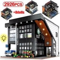 city led light modern cafe bar architecture building blocks friends moc figures technical bricks toys for children gifts