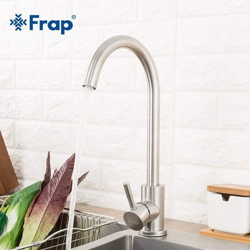 Frap المطبخ الحنفيات الفولاذ المقاوم للصدأ خلاط مطبخ مقبض واحد ثقب واحد خلاط صنبور المطبخ صنبور مصرف المطبخ صنبور Y40107