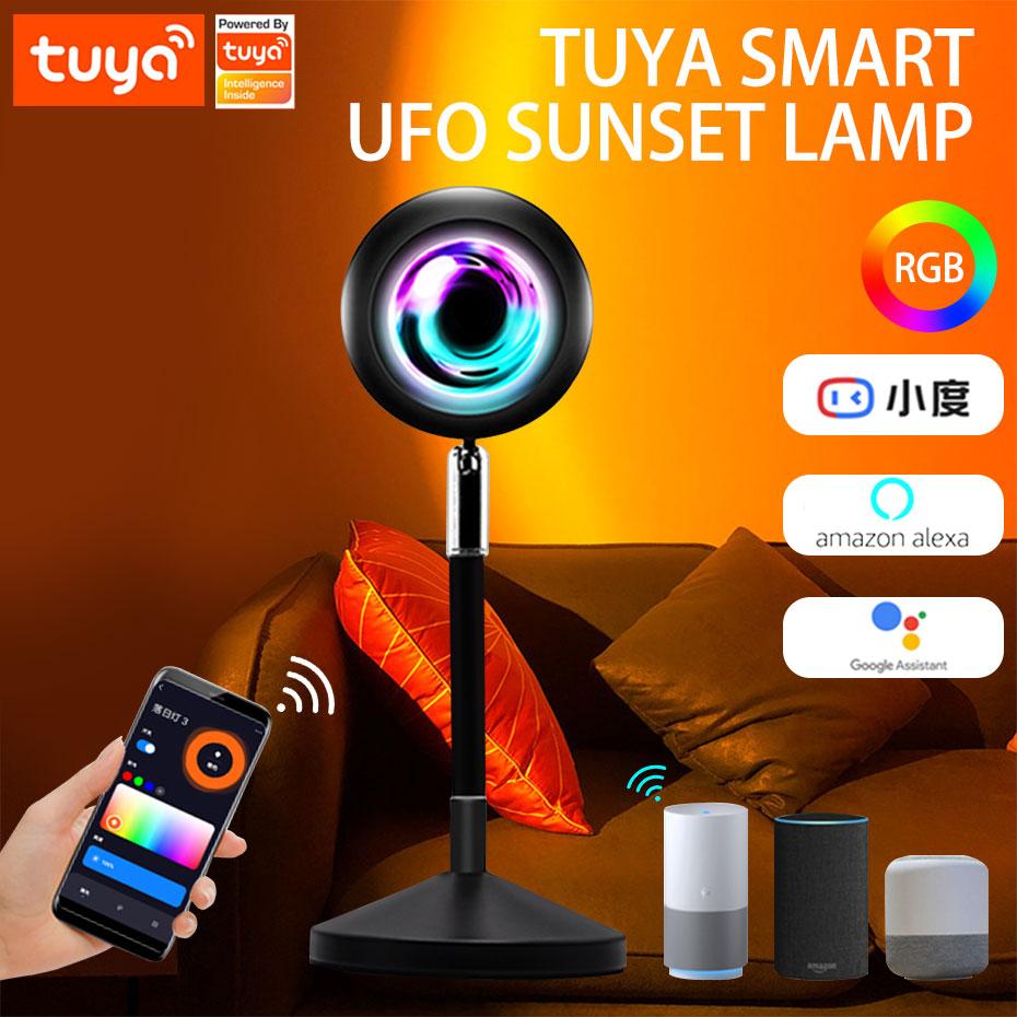 USB 5 فولت تويا الذكية غروب الشمس مصباح RGB Led غروب الشمس الإسقاط ضوء الليل للجو غرفة نوم مقهى جدار إضاءة ديكورية