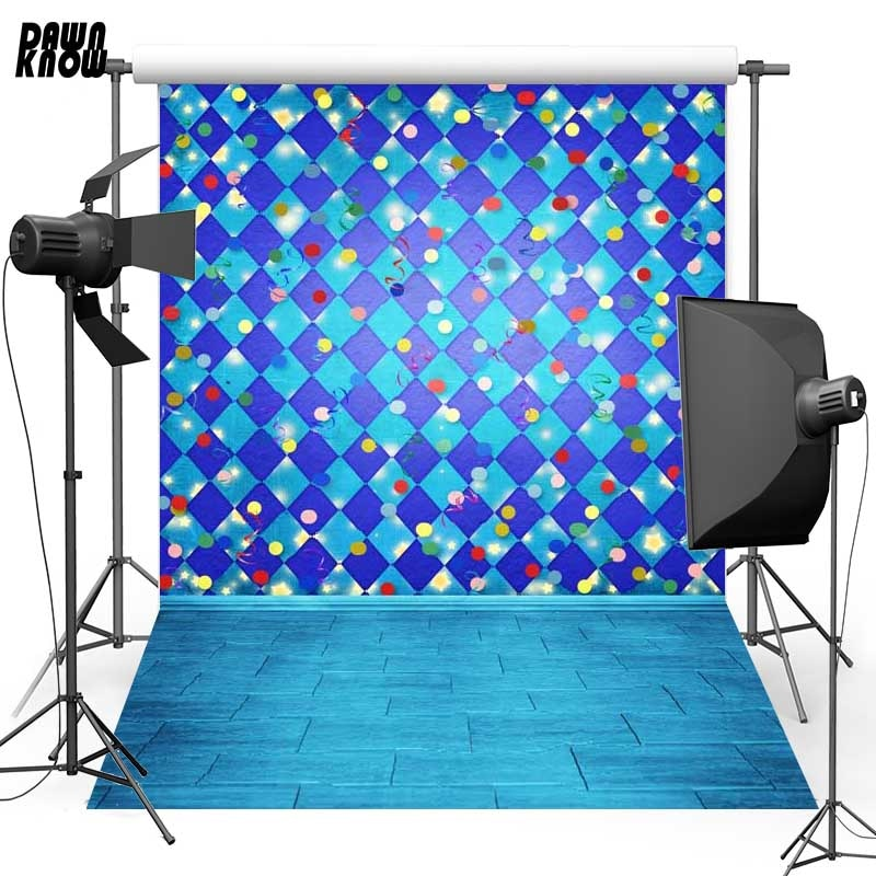DAWNKNOW Blue Pattern Vinyl Photography Background For Baby New Fabric Polyester Backdrop Floor For Wedding Photo Studio ST388