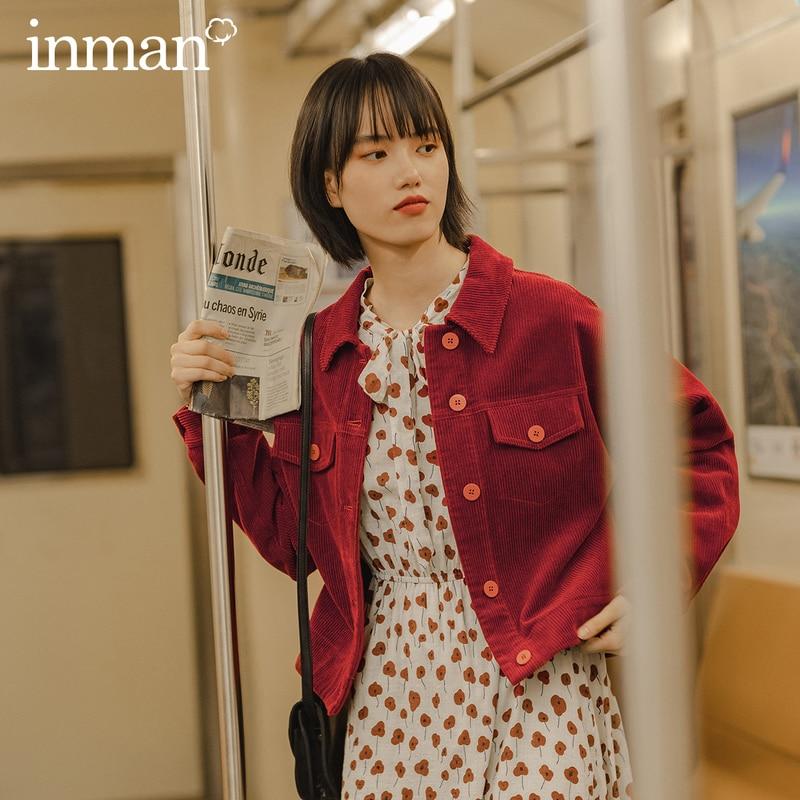 INMAN 2020 automne nouveautés en vrac Vintage Hongkong Style revers coton couleur Pure velours côtelé à manches longues manteau