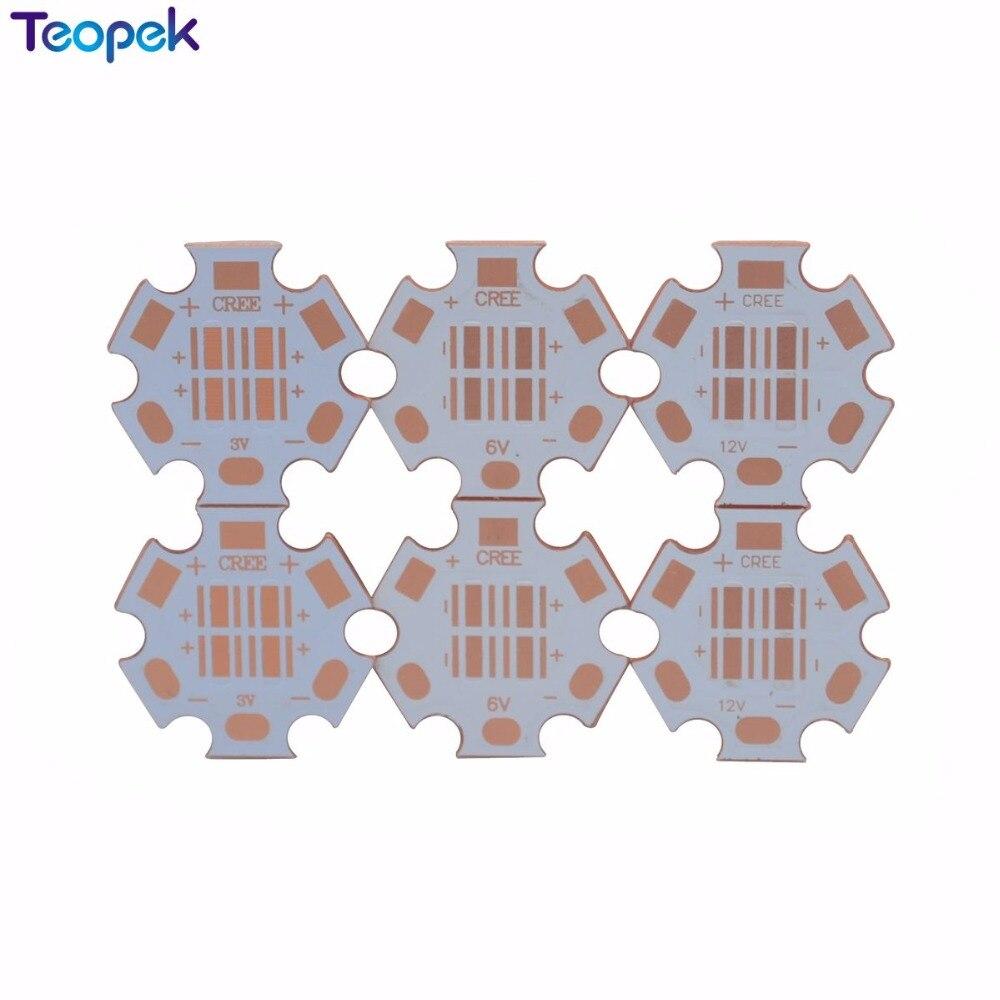 10 pièces 20MM 3535 LED Coper carte PCB LED dissipateur thermique Base de lampe à LED de séparation thermique pour 4D Cree XPE XTE XPG LED 12 V/6 V/3 V