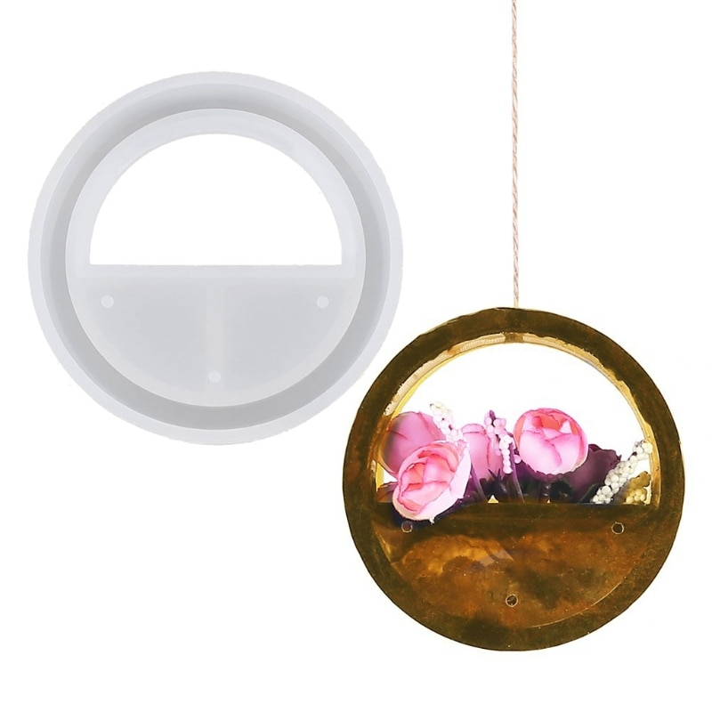 Handmade Round Flower Tray Pendant Epoxy Resin Mold Home Art Wall Hanging Decor Casting Craft Tools