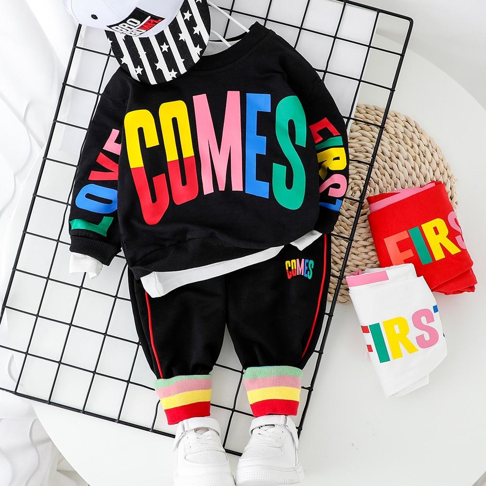 Fashion Baby Boy Clothing Set Letter T-Shirt + Pant 2PCS 2020 New Toddler Boys Spring Autumn Outwear 1 2 3 4 Year