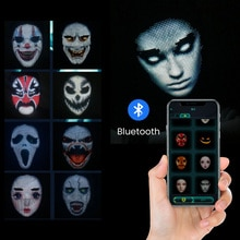Halloween Cosplay Mask LED Lighted Face Transforming Mask Rechargeable App Controlled Props for Part