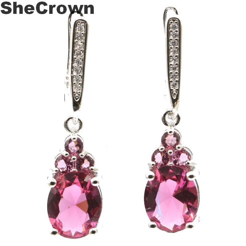 32x8mm, deslumbrante, en forma de gota, rosa, turmalina, blanca, CZ, regalo para mujer, fabricación de joyas, pendientes de plata 2019 925