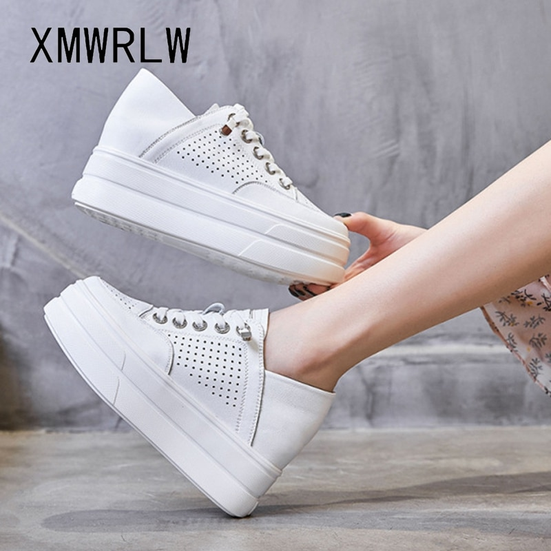 XMWRLW Genuine Leather White Shoes For Women 2021 Spring Summer Sneakers Hidden Heel Female Flat Platform Woman Shoes Sneakers