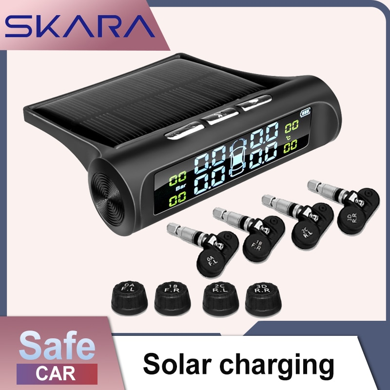 Автомобильная система контроля давления в шинах TPMS с солнечной зарядкой, HD цифровой ЖК-дисплей, автомобильная система сигнализации, беспро...
