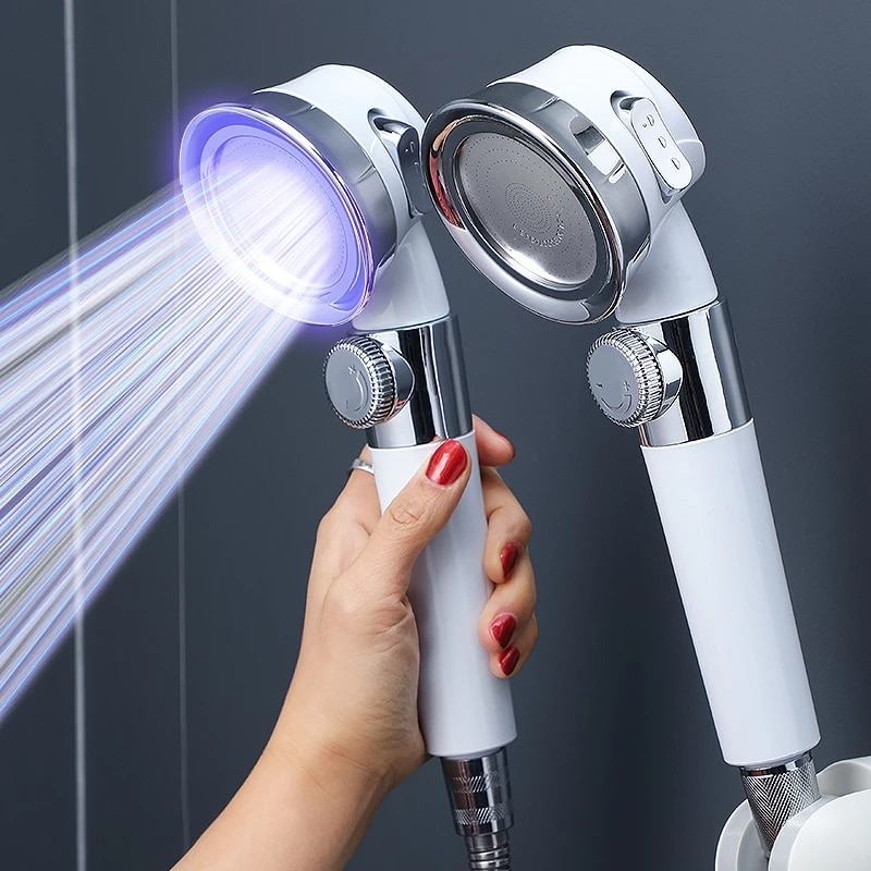 Pressurized Shower Head High Pressure Water Saving Perforated Free Bracket Hose Adjustable Bathroom Accessories Shower Set