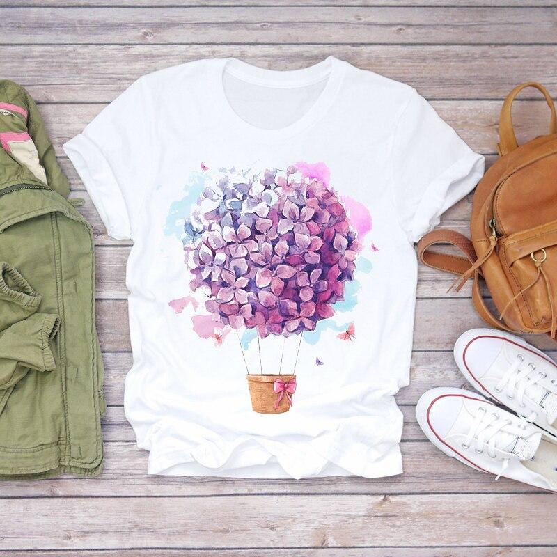 Mujeres 2020 Verano de manga corta Floral flor moda camiseta mujeres Kawaii estilo coreano Harajuku Streetwear camiseta Mujer