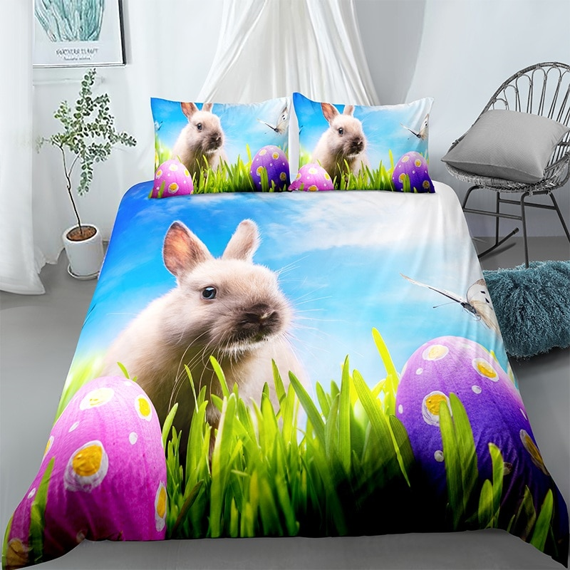 3d Lovely Rabbit Printed Pillowcase Quilt Cover Bedding Set 3pcs Queen King Size Home Textile