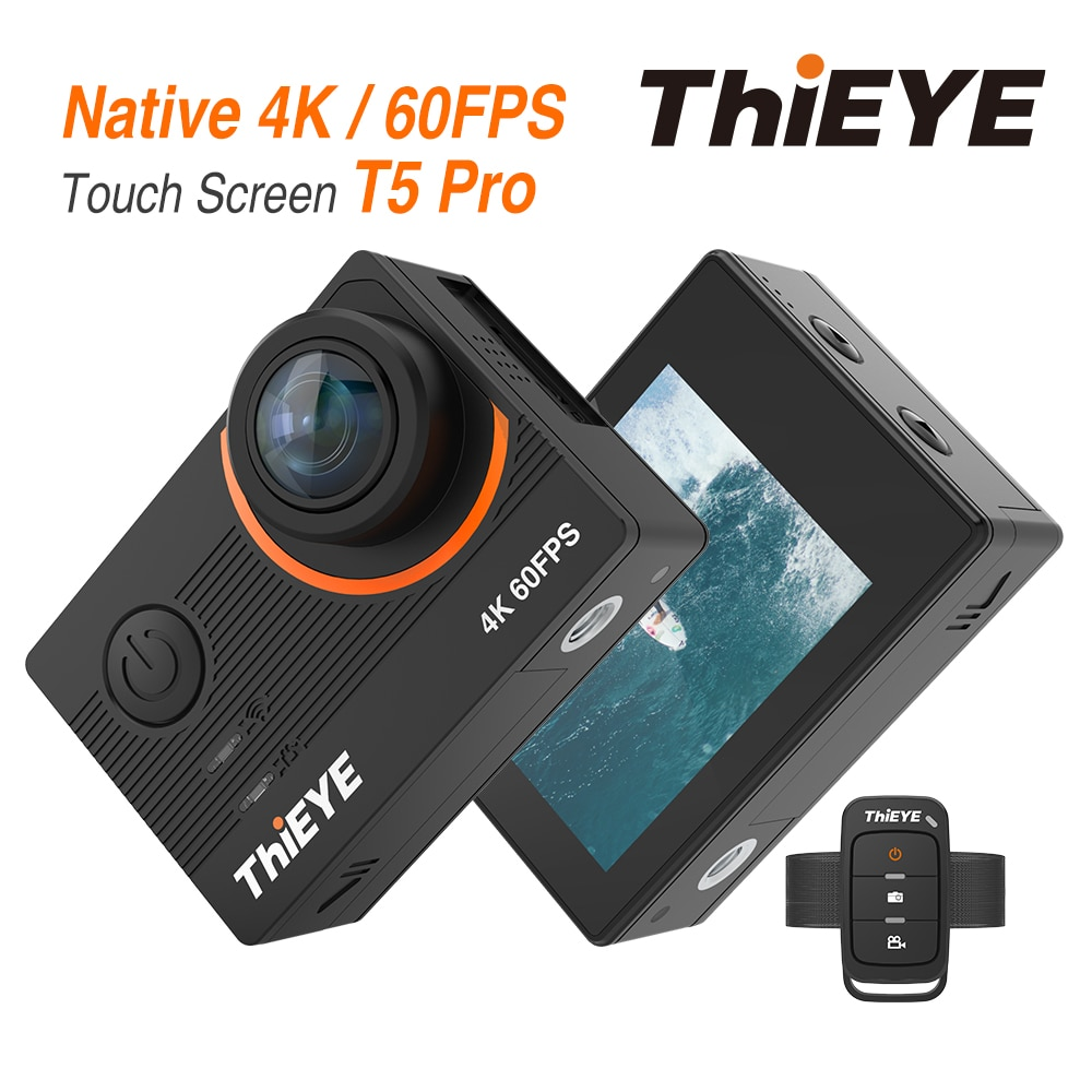 Hieye T5 Pro WiFi Экшн-камера, настоящая 4K Ultra HD спортивная камера с EIS искажением, дистанционное управление, 60 м, водонепроницаемая