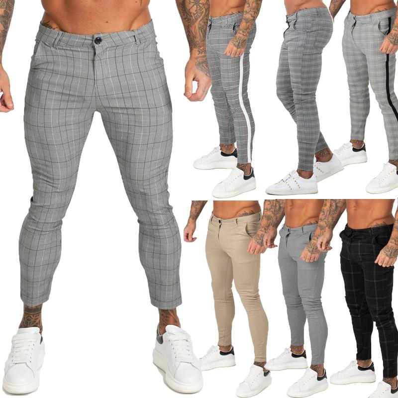 aliexpress.com - GINGTTO Mens Pants Casual Mens Trousers Skinny Stretch Mens Chinos Pants Slim Fit Mens Casual Pant Plaid Check Pants Men