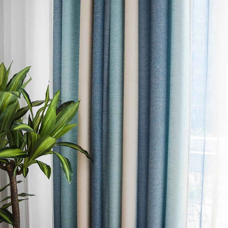 Cortinas opacas a rayas para sala de estar, tratamiento de ventana para dormitorio, cortinas gruesas, cortinas de tela de lino, Panel decorativo para el hogar