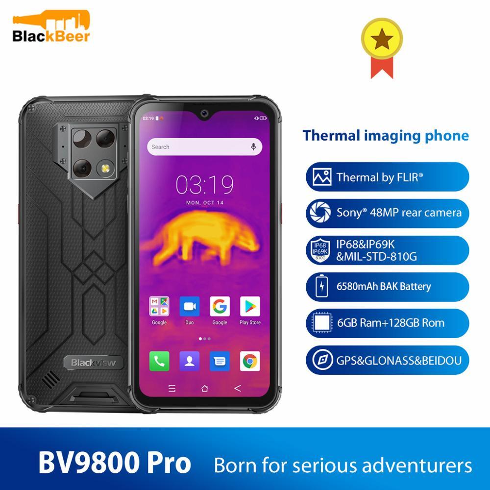 Смартфон Blackview BV9800 Pro IP68, прочный, 48 МП, P70 восемь ядер, Android 9,0, мобильный телефон 6 ГБ + 128 ГБ, тепловизор, NFC