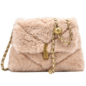 Luxury Feminine Bolsa Faux Fur Bags For Women Winter Handbag Shoulder Messenger Crossbody Bag Females Tote Top-handle Bag