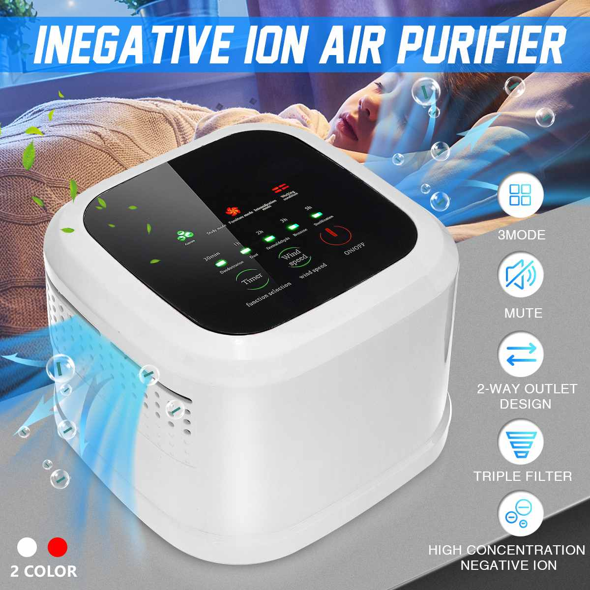 Household Desktop Purifiers Mini Air Purifier Formaldehyde Ozone Ionizer Generator Intelligent Air C