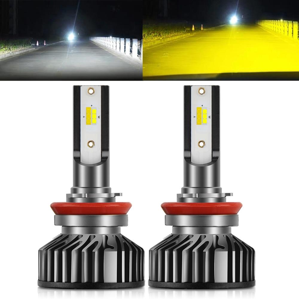 BraveWay-لمبات المصابيح الأمامية للسيارة ، مصابيح الضباب للدراجات النارية متعددة الألوان ، Led H7 H4 H8 H9 H11 3000K 6500K